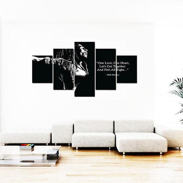 Tableau Rasta  Bob Marley Noir & Blanc