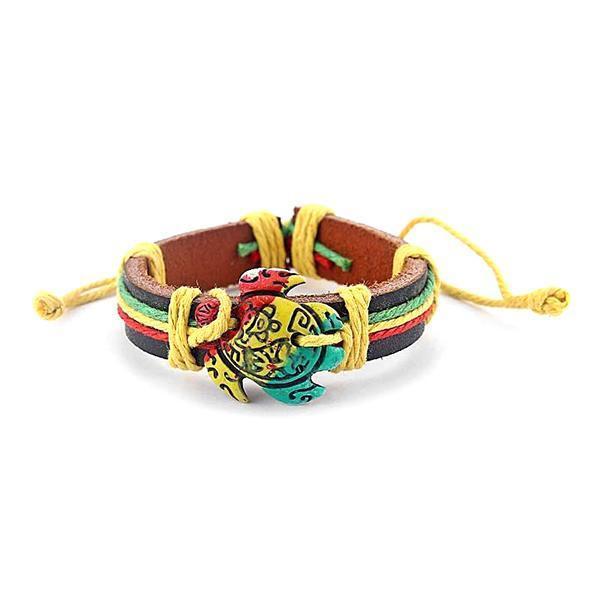 Bracelet Rasta  Tortue Rasta (Cuir)