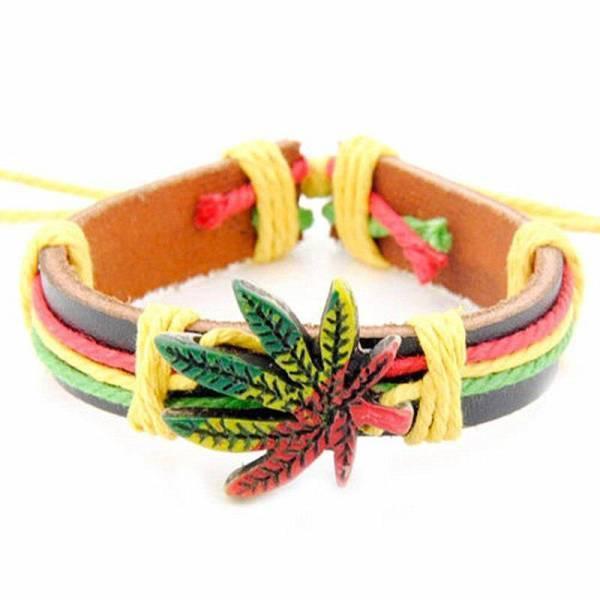 Bracelet Rasta  Cannabis (Cuir)