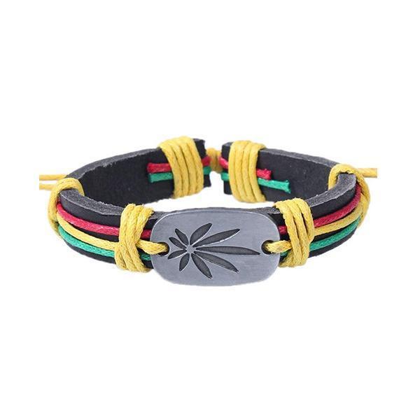 Bracelet Rasta  Weed (Cuir)