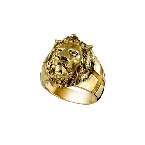 Bague Rasta  Lion Doré (Acier)