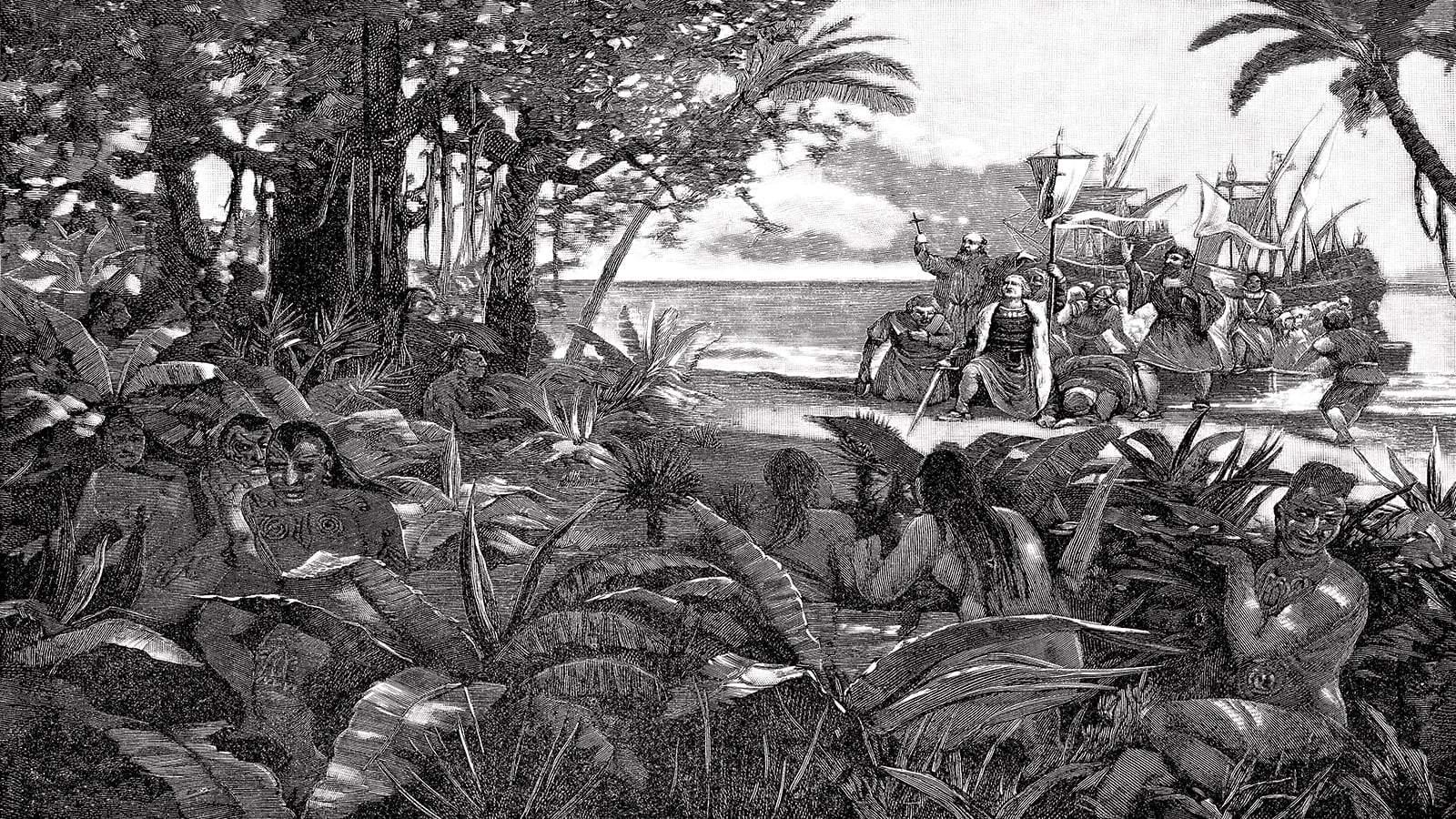 Christophe Colomb qui débarque sur les côtes de la Jamaïque au 15eme siècle