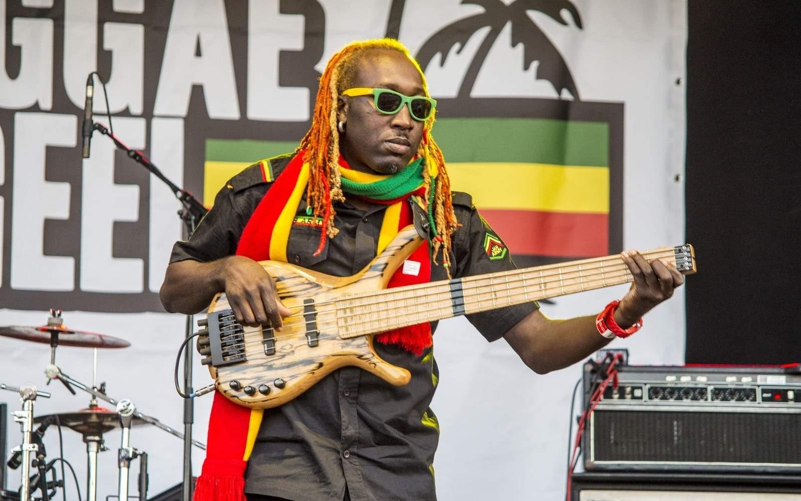 Artiste reggae sur scene qui joue de la guitare avec des dreadlocks aux couleurs vertes jaunes et rouges