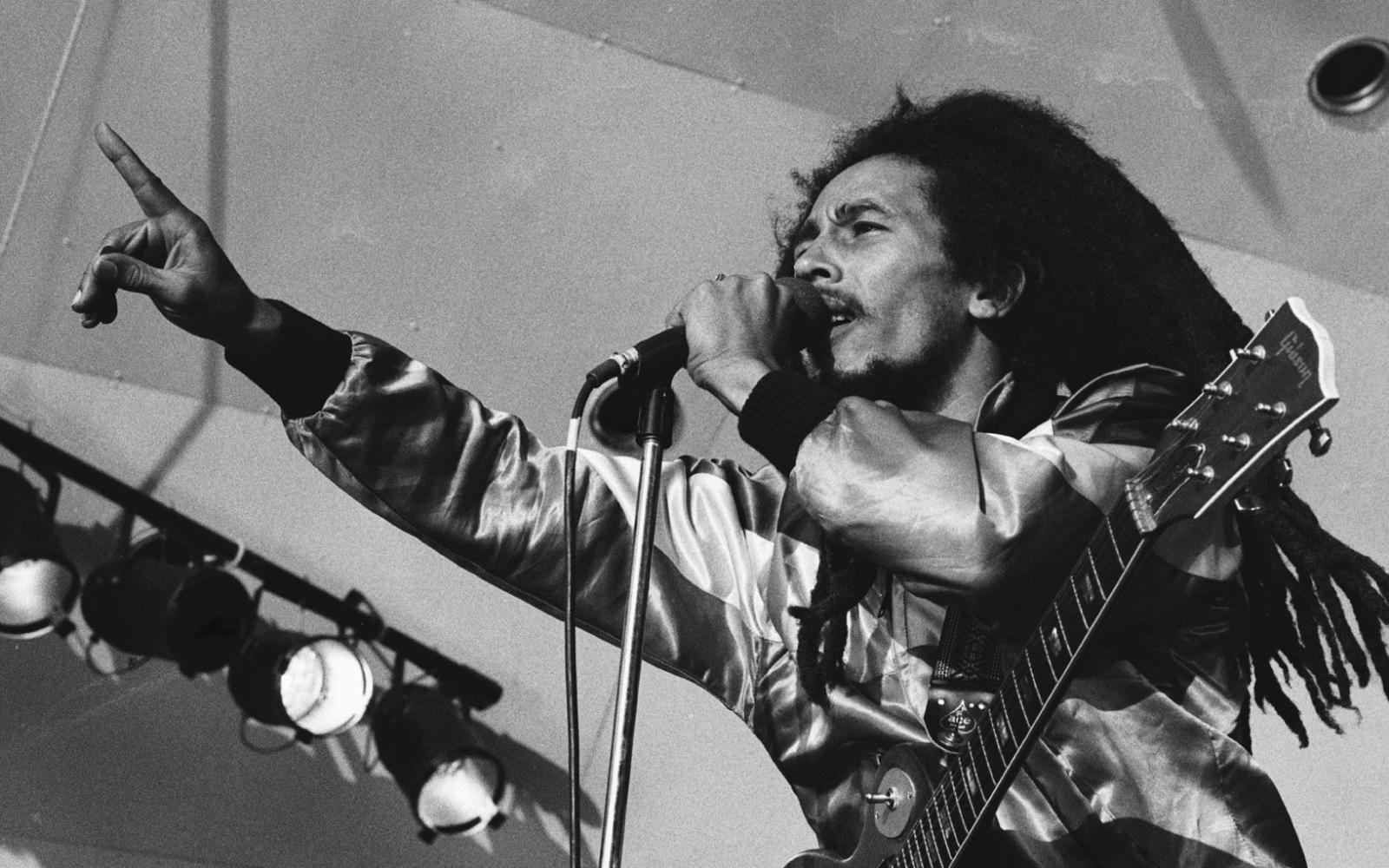 Bob Marley en plein concert, micro en main et dreadlocks dans les airs