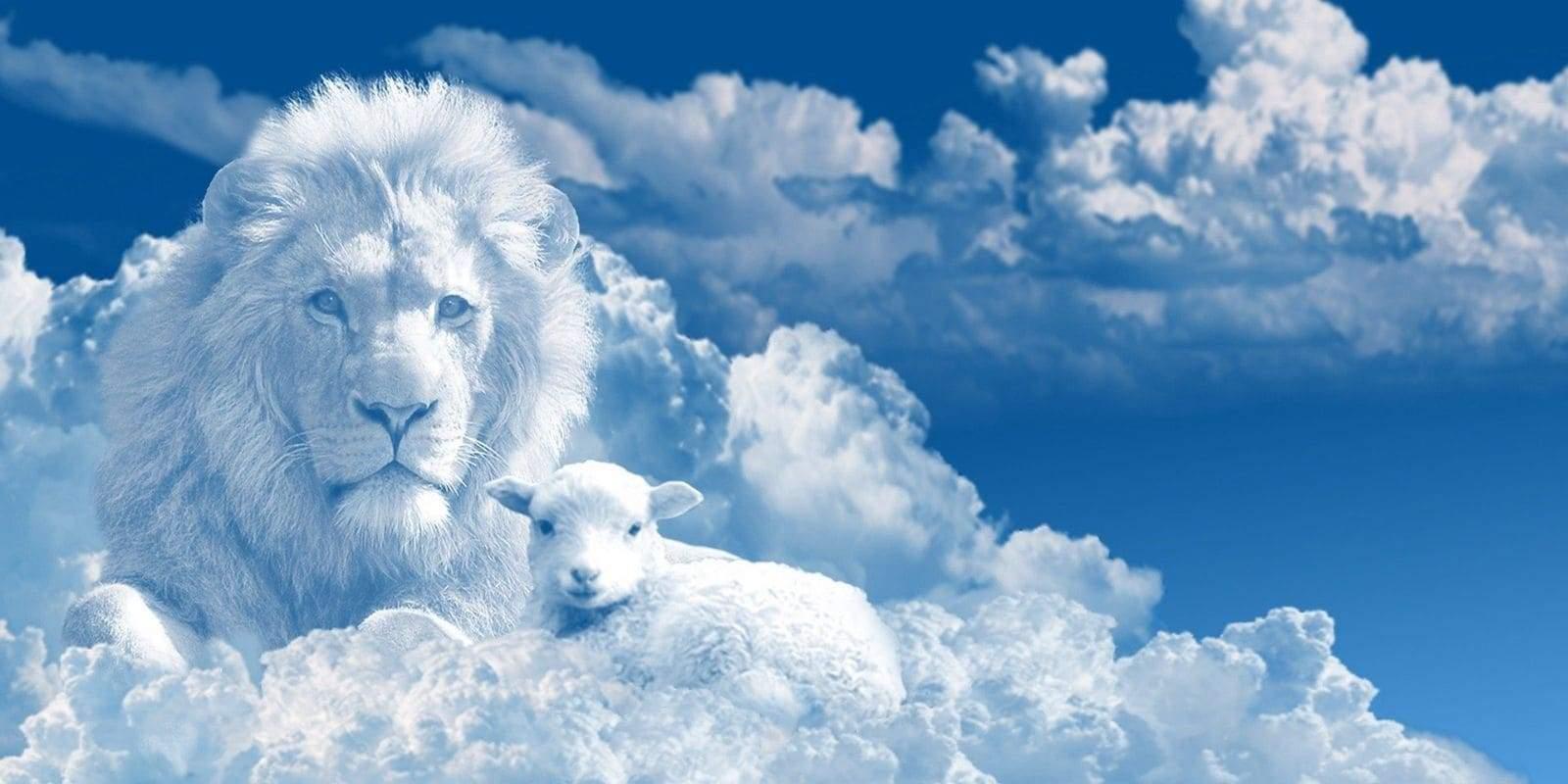 Representation du lion de juda et d'un mouton en forme de nuage