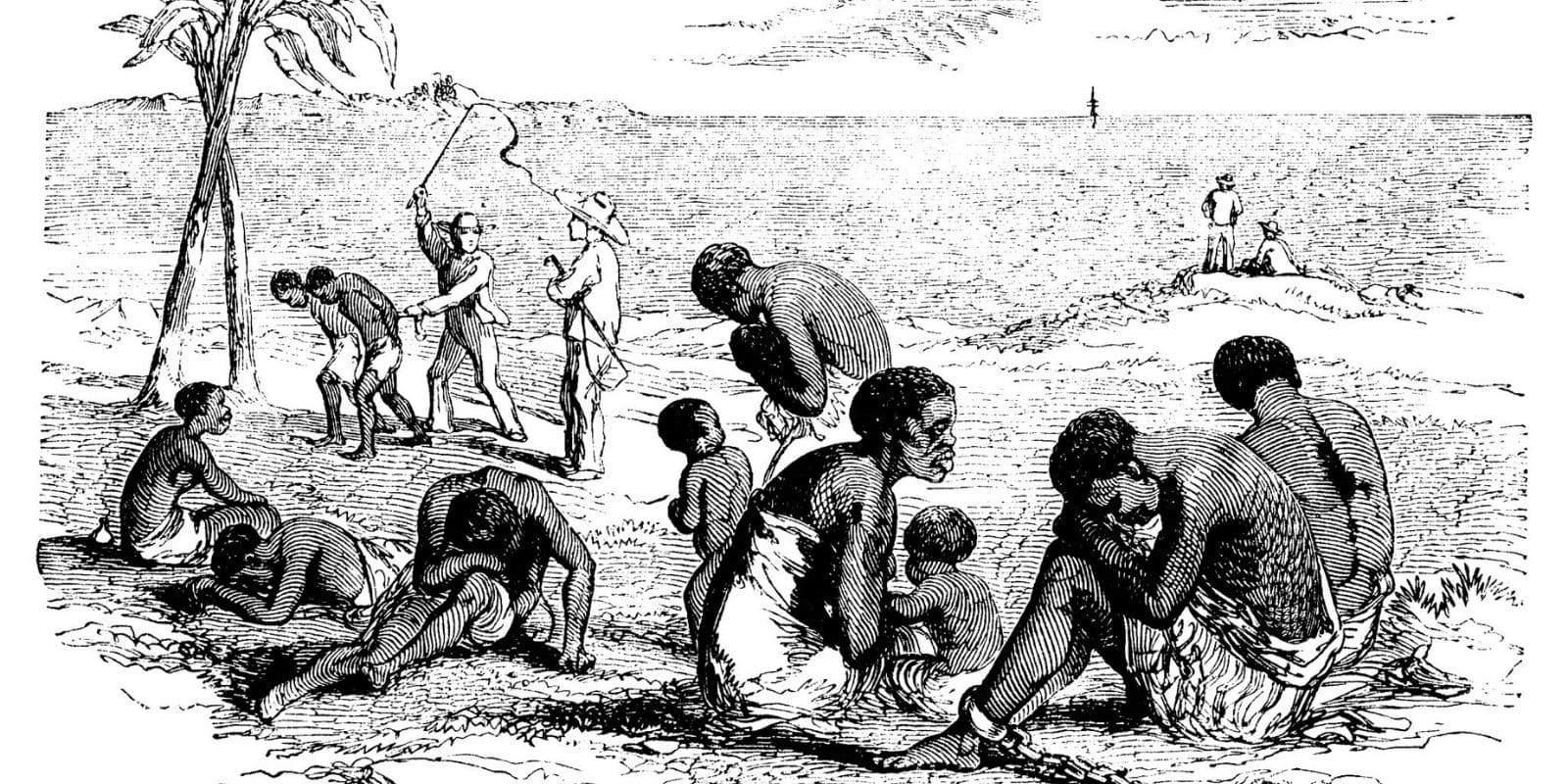 Dessins d'esclaves africains surveillés par des gardes blancs, au bord de la plage attendant un bateau