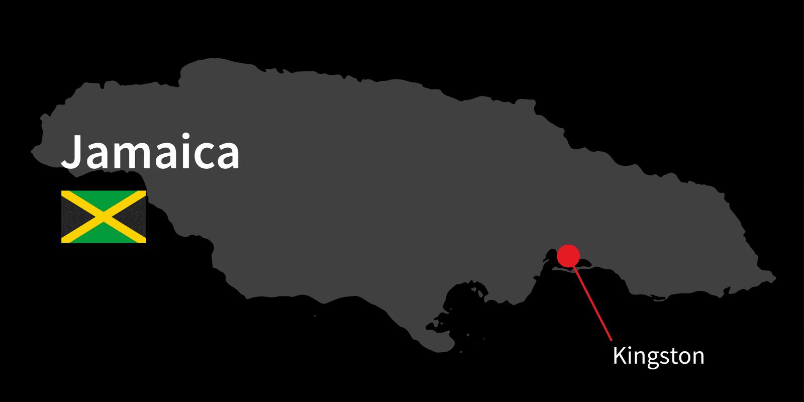 Carte de la Jamaïque avec Kingstown la capitale, représentée