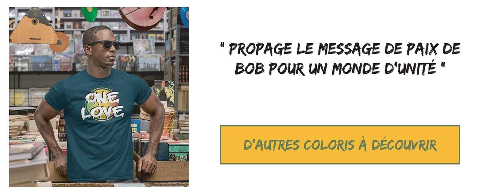 tee shirt rastafari one love, celebre message de bob marley